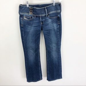 Diesel Cherock Boot Cut Jeans Frayed Hem Stretch